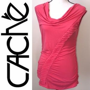 Cache Coral Sleeveless Rouched Top Size Small